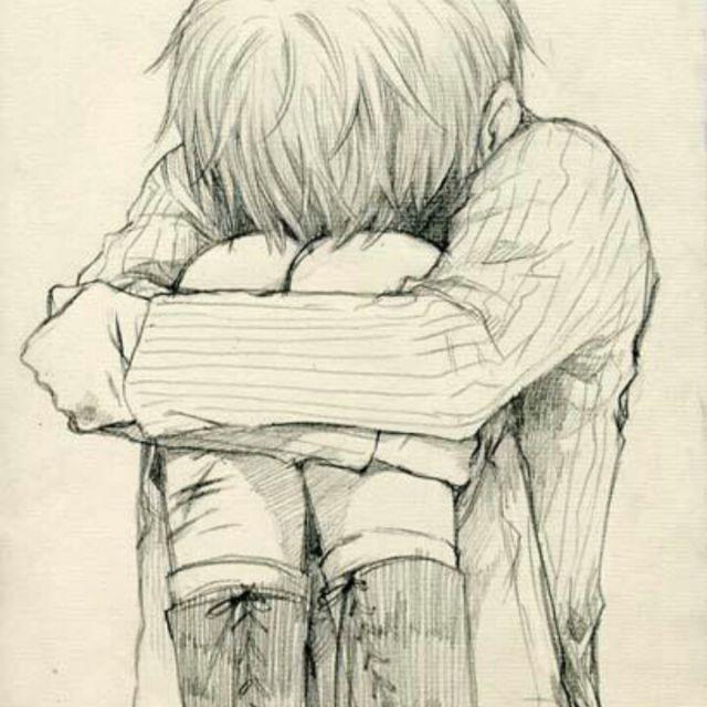 哭泣女孩铅笔画